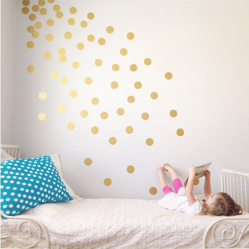 """Vinyl Polka Dot Removable Wall Decals (Gold, 3"""") front-613906"""