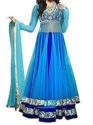 Khazanakart Designer Blue Color Slub Dhupian Fabric Un-stitched Lehenga Choli With Chiffon Dupatta Material.