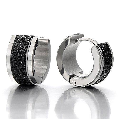 satin es acier anneau boucle d oreille charni re cr oles pour homme femme argent noir deux. Black Bedroom Furniture Sets. Home Design Ideas