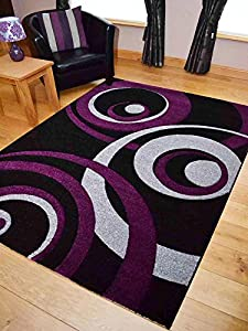 Vibe Modern Black Purple And Silver Circle Design Quality Hand Carved Rugs. Available in 4 Sizes from Rugs Supermarket