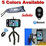 Flexible Tripod - Cell Phone Tripod Adapter - Bluetooth Remote Control - Travel Bag - iPhone 6 6S 5 5s 5c 4s 4, Samsung Galaxy S2 S3 S4 S5 S6 (Black/Gray) - DaVoice
