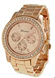 51lH4SWlNTL. SL160  Bling Jewelry Geneva Rose Gold Plated Classic Round CZ Ladies Watch