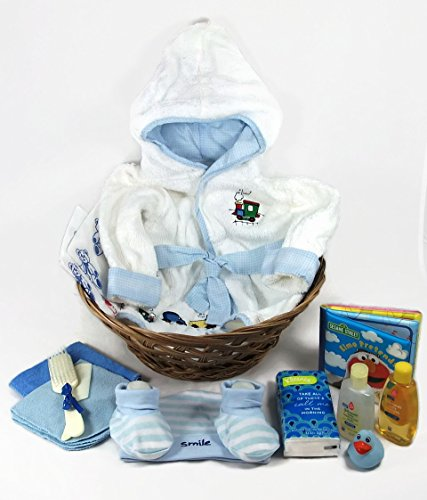 Sunshine Gift Baskets - Baby Bath Robe Gift Set with a Handy Pack (Blue)