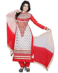 Yehii semi stitched salwar suit For Women Free Size Party Wear Dress Material Beige | Georgette , Pure Georgette , Pure Chiffon salwar kameez dupatta