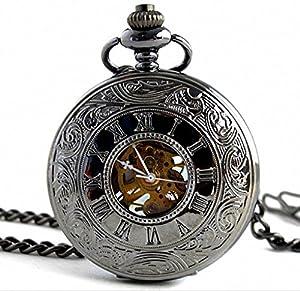 Infinite U Retro Alta calidad Esqueleto Acero Grande Negro Reloj de Bolsillo Mecánico por Infinite U