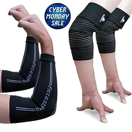 Elbow Sleeve Package - Elbow Compression Sleeve Pair & Elbow Support Wrap Pair - #1 Unisex Athletic Recovery Sleeve For Relief of Golfers, Tennis Elbow & Joint Tendonitis (Large - Extra large)