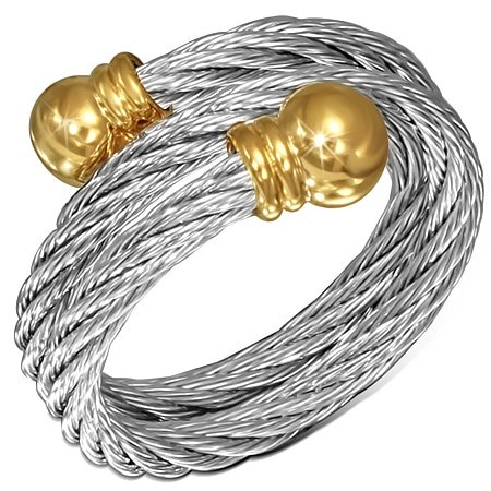 Stainless Steel 2-tone Celtic Twisted Cable Wire Torc Cuff Ring w/ Alloy End Cap (Twisted Wire Ring compare prices)