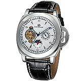 GuTe出品 腕時計 メンズ 自動巻き トゥールビョン 革バンド ムーンフェイス ユニーク 機械式 ホワイト
