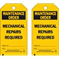 """Brady  86532 5 3/4"""" Height x 3"""" Width, Economy Polyester (B-851), Black on Yellow Accident Prevention Tags (10 Tags)"""