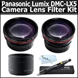 Accessory Kit For The Panasonic Lumix DMC-LX5 10.1 MP Digital Camera Includes 0.45X Professional Wide Angle HD Lens with Macro + 2x HD Telephoto Lens + Lens Adapter + Lens Pen Cleaning Kit + ButterflyPhoto MicroFiber Cleaning Cloth