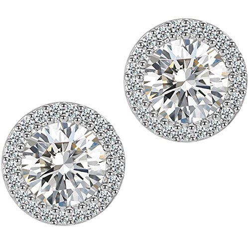 Fashion Jewelry 18k White Gold Plated Cubic Zirconia Halo Stud Earrings (Big Diamond Earrings compare prices)