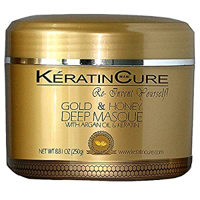 KERATIN CURE - Deep Hair Reparation Masque 250g /8.81 oz Gold & Honey with Argan Oil - Shea Butter 250 g / 8 Oz Conditioning Moisturizing Hair Treatment