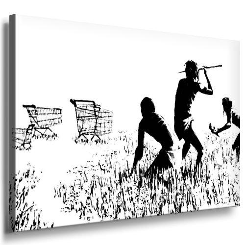 photo-leinwand24-banksy-graffiti-art-trolley-hunters-aa0137-image-sur-chassis-bois-noir-blanc-80-x-6