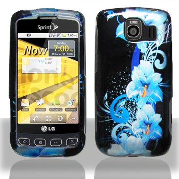 Blue Hawaiian Hibiscus Flower Design Snap on Hard Shell Cover Protector Faceplate Skin Case for Sprint LG Optimus S LS670, Virgin Mobile Optimus V, USCellular Optimus U + LCD Screen Guard Film (Free Wristband)