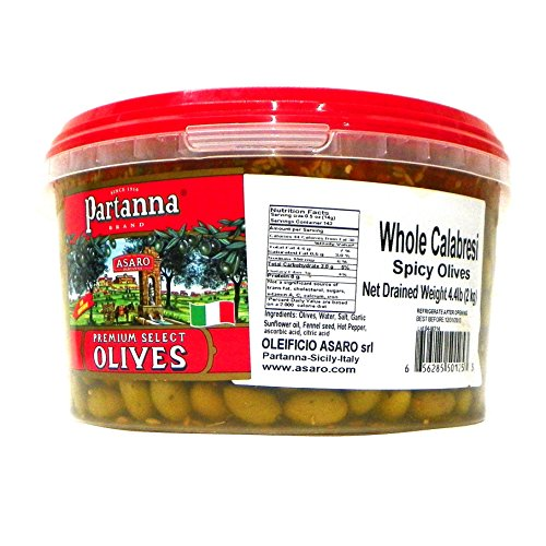 Partanna Premium Select Whole Olives, Spicy Calabresi, 4.4 Pound (Asaro Olive Oil compare prices)