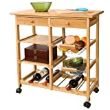 Wide, (72cm) 100% bamboo, kitchen trolley with shelves & drawer storage, FKW06-N