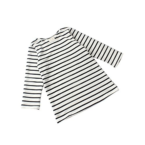 MNLYBABY Toddler Baby Girls Cotton Long Sleeve Striped Dress Tops