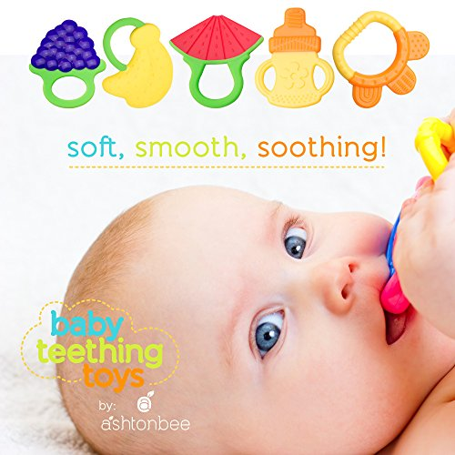 baby teething toys bpa free natural organic freezer safe teether set for 3 to 12 months babies. Black Bedroom Furniture Sets. Home Design Ideas