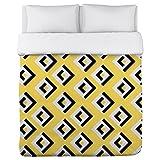 Bentin Home Deco Lisa Geometric Lightweight Duvet Cover, King, Yellow/White/Black