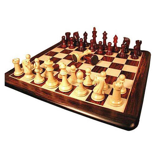 Chetak Bud Rosewood Chessmen with Solid Rosewood Maple Thick Board Chess Set