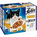 Felix Poultry Selection in Jelly Wet Cat Food Pouch 12 x 100 g (Pack of 4)
