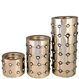 Candle Holder , Pillar Candle Stand Silver Color (Set Of 3)