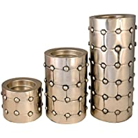 Coolethnic Decorative Antique Pillar Candle Holder-Rivetted Satin Metal (Set Of 3)