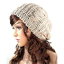 Springwell Women's Hat Cat Ear Crochet Braided Knit Caps (one size, beret hat-beige)