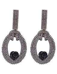 Daamak American Diamond Black Rose Earring For Women