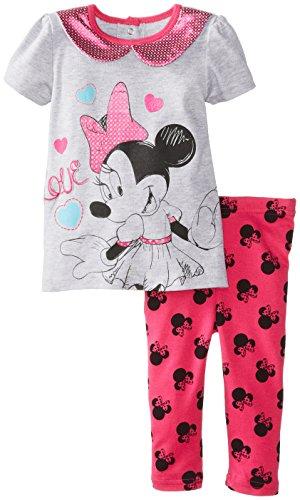 Disney Baby Baby-Girls Newborn Minnie 2 Piece Legging Set, Light Grey Heather, 24 Months front-1026025