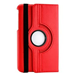 Gearonic 360 Degree Rotating PU Leather Case Cover Swivel Stand for Samsung Galaxy Tab 3 Red (AV-5418-Red-tab3)