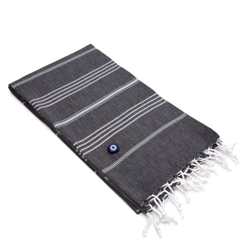Linum Home Textiles Lucky Pestemal/Fouta Towel, Charcoal Black
