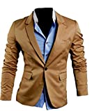 XQS Mens Stylish Solid Trim-Fit One Button Formal Blazer Coats Suit