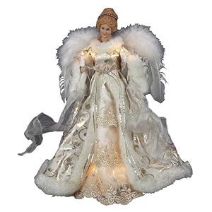 Kurt Adler UL 10-Light Angel Christmas Treetop Figurine, 16.5-Inch, Ivory and Gold