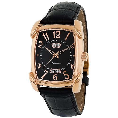 Stuhrling Original Men's 98.33451 Classic Metropolis Madison Avenue Campaign Automatic Day And Date Rose Tone Black Leather Strap Watch