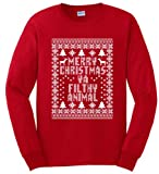 Merry Christmas Ya Filthy Animal Long Sleeve T-Shirt Medium Red