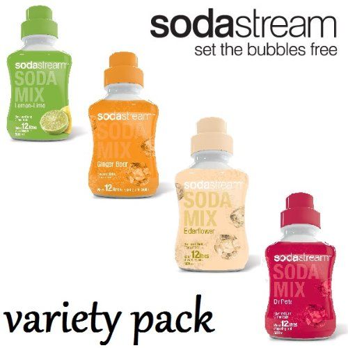 Elderflower, Dr Pete, Lemon Lime & Ginger Beer - 4 x SodaStream 500ml Syrup Concentrates - Variety Pack