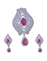 Nimbark Traders Brass And Metal White & Red Color Designer Pendent Set With Earrings For Women