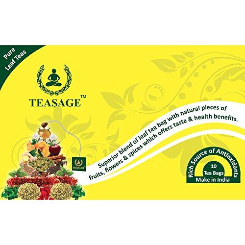 TEASAGE Mango Green Tea - Box Of 10 Pyramid Shaped Tea Bags