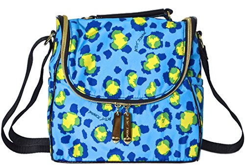 Betsey Johnson Kenya Cheetah Lunch Tote Bag Blue Multi