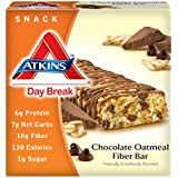 Atkins Day Break Chocolate Oatmeal Fiber Morning Snack Bar,1.4 Ounce, 5 Count Bars