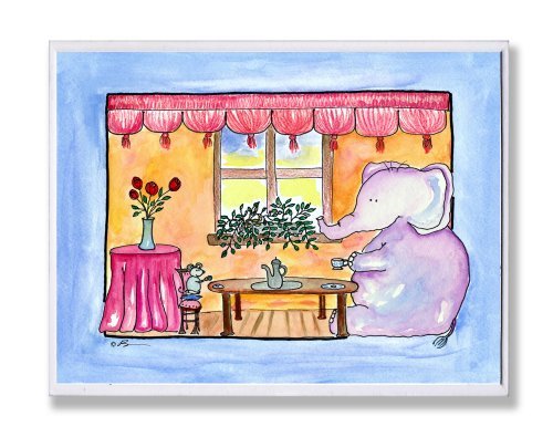 The Kids Room by Stupell Tea for Two Elephant and Mouse Rectangle Wall Plaque