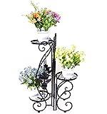 3 Niveaux Porte Plante, Décoratif Fleur Étagère en fer forgé, Etagere de jardin, Noir