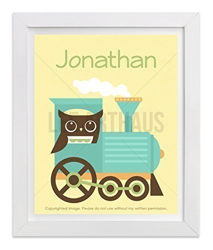 10P Personalized Name Owl on Train UNFRAMED Wall Art Print by Lee ArtHaus (Steam On Letters compare prices)