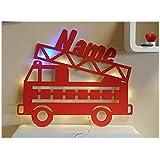 feuerwehr lampe handbemalt mit wunschnamen kinderlampe blaulicht warmwei e. Black Bedroom Furniture Sets. Home Design Ideas