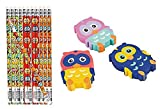 Package of 12 Rubber Owl Erasers & 12 Wooden Owl Pencils/Back to School/School Supplies/Student Incentives