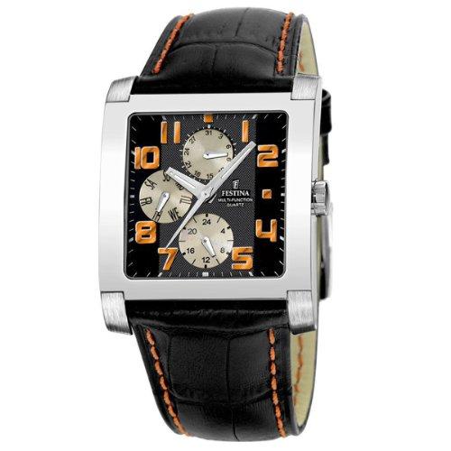 FESTINA F16235/9 - Reloj unisex de cuarzo, correa de piel color negro