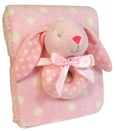 Stephan Baby Super Soft Coral Fleece Polka Dot Crib Blanket and Plush Ring Rattle Gift Set, Pink Bunny