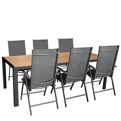 7tlg. Gartengarnitur, Aluminium Gartentisch mit Polywood-Tischplatte 205x90cm + 6x Aluminium-Hochlehner mit 2x2 Textilenbespannung, 7-fach verstellbar, klappbar, anthrazit / Sitzgruppe Sitzgarnitur Gartenmöbel Terrassenmöbel