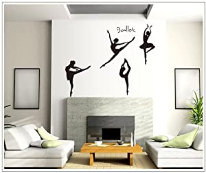 OneHouse Four Girls Perform Ballet DIY Wall Decal Super for Girls' Room Wall Decor by OneHouse